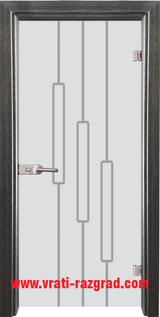 Стъклена интериорна врата модел Sand G 14-11 с каса Сив Кестен