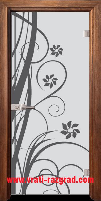 Стъклена интериорна врата модел Sand G 14-7 с каса Златен дъб